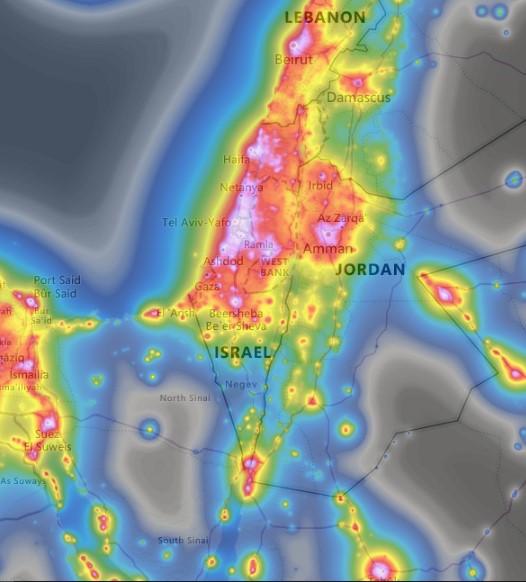 מפת זיהום האור של ישראל נכון להיום.