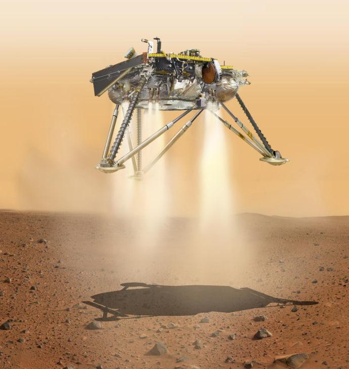 הדמייה של אינסייט בנחיתה. קרדיט: NASA/JPL-Caltech