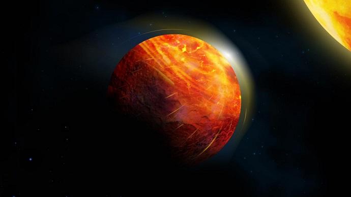 הדמיית אמן של כוכב הלכת K2-141b. קרדיט: JULIE ROUSSY, MCGILL GRAPHIC DESIGN AND GETTY IMAGES
