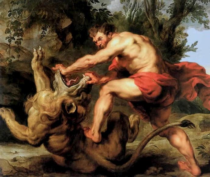 שמשון מכניע את האריה בציורו של צייר הבארוק הפלמי פטר פאול רובנס.