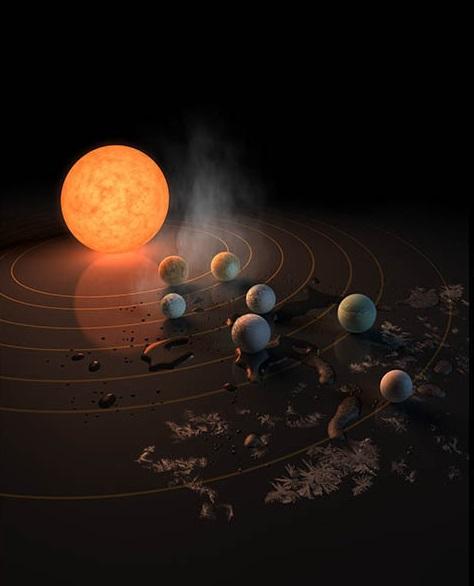 איור של מערכת השמש שעיטר את שער כתב העת Nature שראה אור היום | איור: NASA