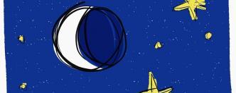 איור ירח וכוכבים