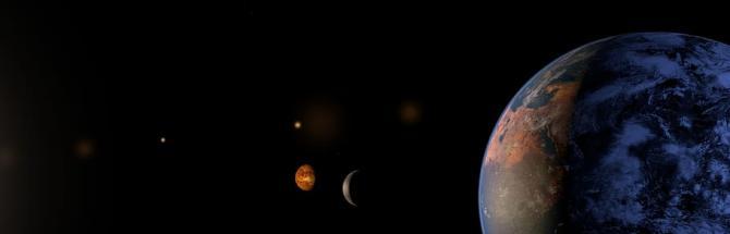 כשכדור הארץ, הירח ומאדים מתייצבים בשורה