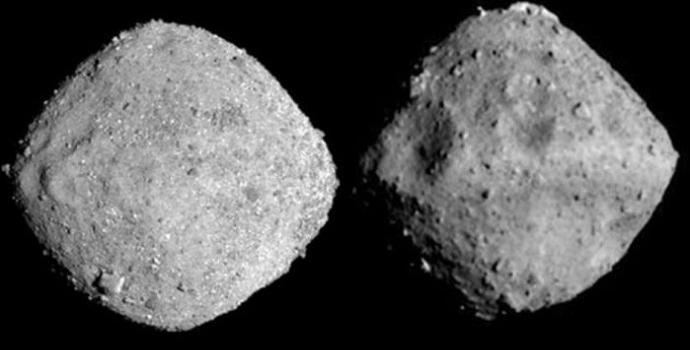 מצאו את ההבדלים: בנו (משמאל) וריוגו (מימין). קרדיט: NASA ו-JAXA