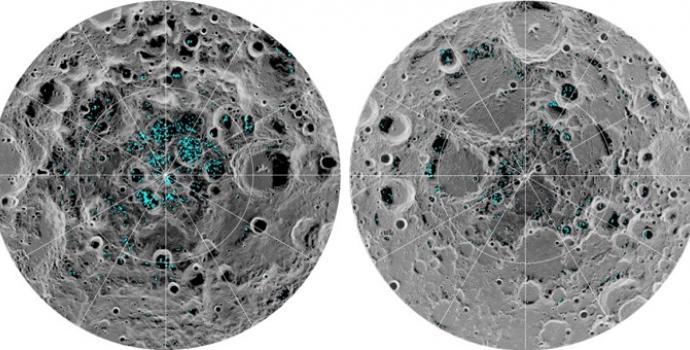 מאגרי המים בקוטב הדרומי (משמאל) והצפוני (מימין) של הירח. כאן תוקם תחנת הדלק? קרדיט: NASA