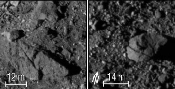 תצלומי תקריב של פני השטח המסולעים על בנו. צוות אוסיריס-רקס נאלץ לחשב מסלול מחדש.  קרדיט: NASA/GSFC/UNIVERSITY OF ARIZONA