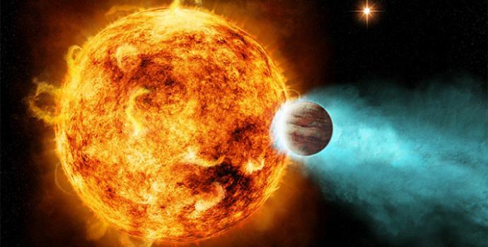 אילוסטרציה של כוכב לכת בנעילת גאות ביחס לכוכב שלו, כך שצד אחד תמיד מואר בעוד השני שרוי בלילה נצחי. קרדיט: NASA/Ames/JPL-Caltech