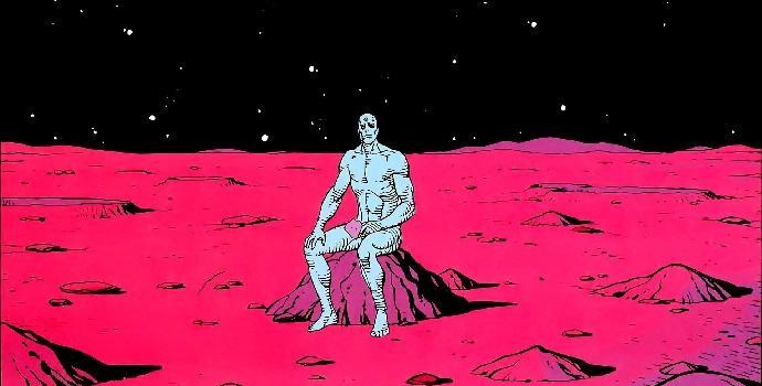 """ד""""ר מנהטן על סלע במאדים, מתוך הקומיקס השומרים. קרדיט: Dave Gibbons/John Higgins"""