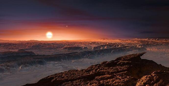 הדמיית פרוקסימה קנטאורי B, כוכב לכת במערכת אלפא קנטאורי בת 3 כוכבים. מימין לננס האדום ניתן לראות את 2 הכוכבים הנוספים   ESO/M. Kornmesser