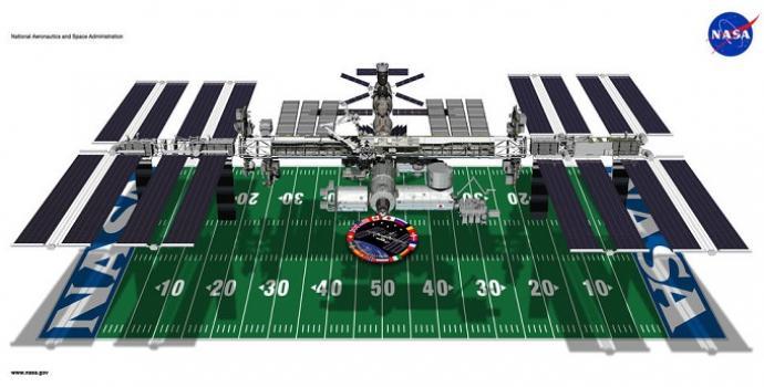 תחנת החלל הבינלאומית בהשוואה למגרש פוטבול