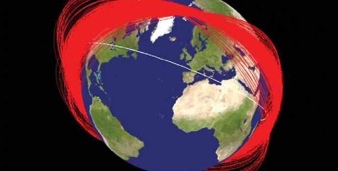 טבעות כדור הארץ: שרידי הניסוי הסיני חודש אחרי ההתנגשות. בלבן תחנת החלל הבינלאומית. הדמיה: NASA Orbital Debris Program Office