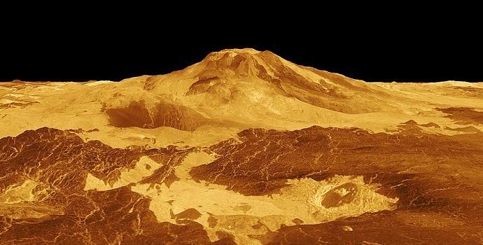 """תמונת רדאר של הר געש בנוגה – והלבה העתיקה שמסביבו. קרדיט: נאס""""א"""