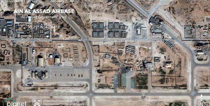 הנזק באחד משני הבסיסים שהותקפו, בעקבות פגיעה מדויקת של הטילים. Planet Labs Inc./Middlebury Institute of International Studie