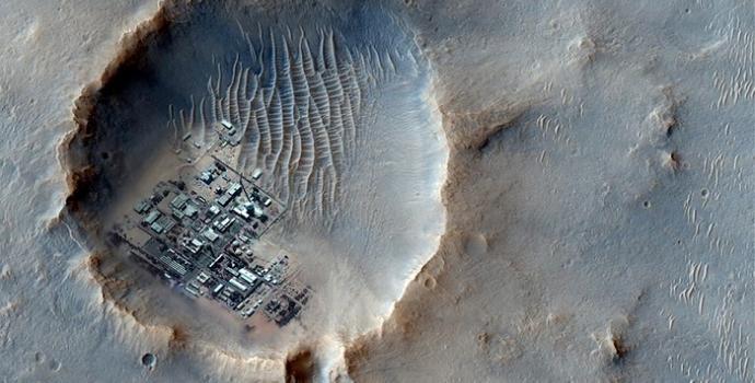 הדמיה של מושבה על צילום אמיתי של פני השטח במאדים | עיבוד: Dmytr0