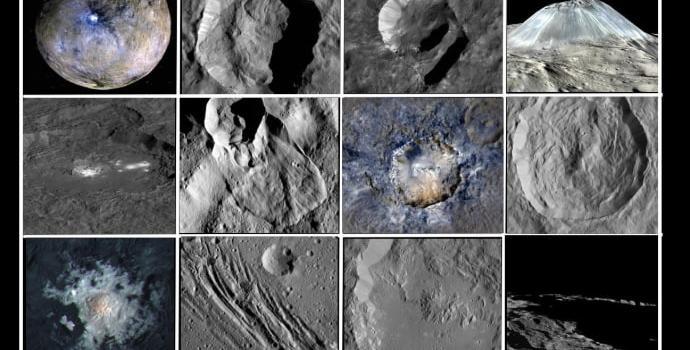 """תמונת תצריף של היבטים גיאולוגיים מעניינים בקרס. קרדיט: נאס""""א"""