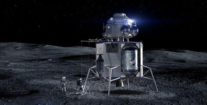 הדמיה של בלו אוריג'ין המראה אסטרונאוטים נוחתים על הירח באמצעות הבלו מון. קרדיט: Blue Origin