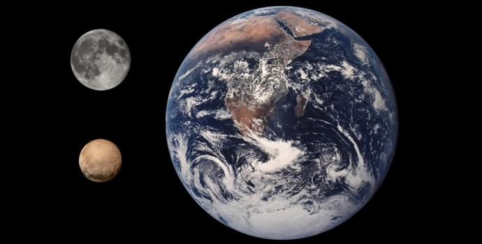 יחסי הגודל האמיתיים בין כדור הארץ, הירח ופלוטו