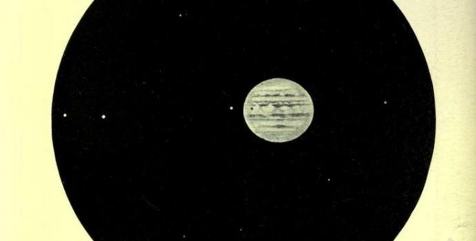 כוכב הלכת צדק, מתוך הספר השמיים וסיפורם משנת 1908 | איור באדיבות ספריית אוניברסיטת קליפורניה