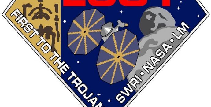 טלאי המשימה לוסי לכוכב הלכת צדק. גם צורת היהלום של הטלאי מתייחסת לשיר של הביטלס. | צילום: NASA/SwRI