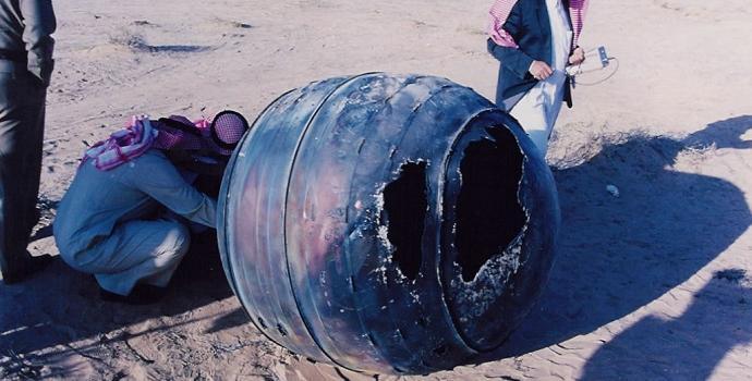 חלק ממשגר דלתא 2 שנפל בערב הסעודית ב-2001. במזל, עד היום איש לא נפגע מפגיעה של פסולת חלל. קרדיט: NASA