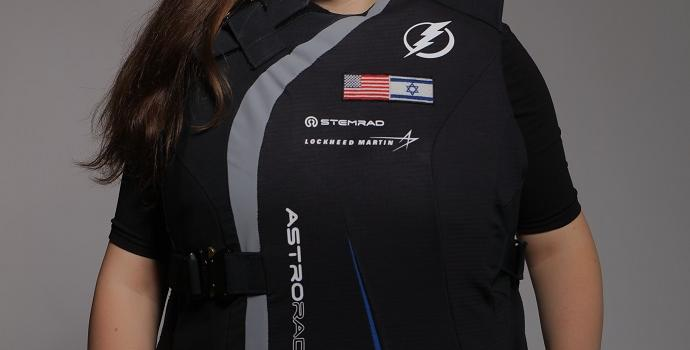 AstroRad vest is made in Israel and boasts its flag- the first showing of Israel's flag on the ISS.