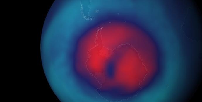 ויזואליזציה של החור בשכבת האוזון מעל הקוטב הדרומי. החדשות הטובות: החור הולך וקטן! קרדיט: Stuart_Rankin