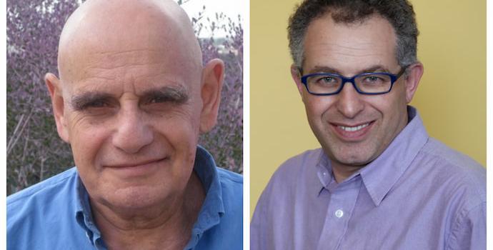 פרופ' זקוביץ מהאוניברסיטה העברית (מימין) ופרופ' בן דב מאוניברסיטת חיפה.