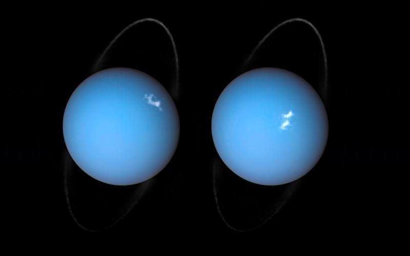 אורורה באורנוס. בתמונות הללו, שצילם טלסקופ החלל האבל, אפשר לראות גם את טבעות כוכב הלכת.