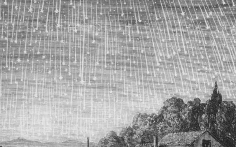 """יש מטרי מטאורים שמפתיעים לפעמים   מטר הלאונידים המפורסם משנת 1833, כפי שתועד ע""""י אדולף וולמי"""