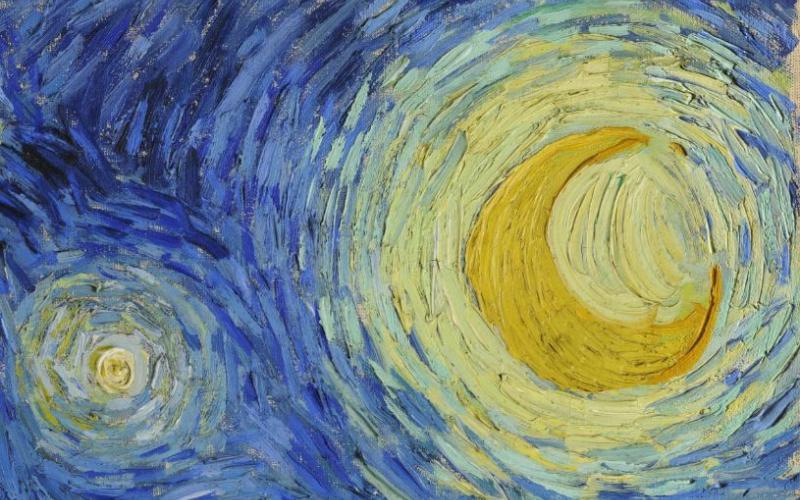 ירח וכוכב | פרט מתוך Starry Night מאת וינסנט ואן גוך