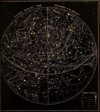 איור מפת שמי דצמבר הלקוח מספר לימוד משנת 1855 | Smith's Illustrated astronomy