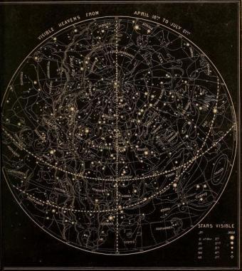 איור מפת השמים הלקוח מספר לימוד משנת 1855 | Smith's Illustrated astronomy