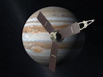 איור ג'ונו על רקע צדק | NASA/JPL