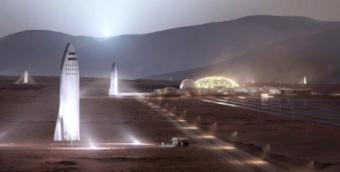 הדמיית החללית במושבה האנושית על מאדים. שימו לב לבסיס, לחוות הסולאריות ולמספר החלליות | איור: SpaceX