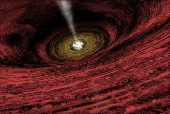 איור של חור שחור קדום, עם דיסקת גז המייצרת קרינה כה רבה, שאמורה לעכב היווצרות כוכבים | צילום: NASA/CXC/M.Weiss