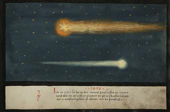 מערכת השמש ממשיכה להפתיע אותנו גם אחרי מאות שנות אסטרונומיה | איור משנת 1456 בעקבות שביטים שנצפו בליל יולי