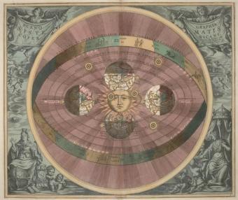 התובנה כי היממה היא תוצאה של סיבוב כדור הארץ סביב צירו, מקורה בתיאוריה ההליוצנטרית במאה ה- 16 | איור: אנדראס סלריוס, 1660