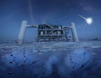 תמונה של מעבדת IceCube, עם הדמיית מקור שטף חלקיקי הנייטרינו – וגילויים מתחת לפני הקרח. קרדיט: Icecube/NSF