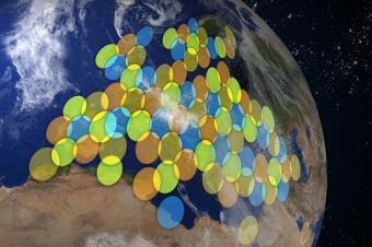 כיסוי לווייני בתדרי Ka מעל יבשת אירופה | צילום: Axlsite; wikimedia