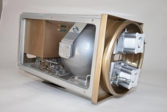 A built-in model of the Microsatellite Electric Propulsion System - MEPS - inside the microsatellite's propulsion box