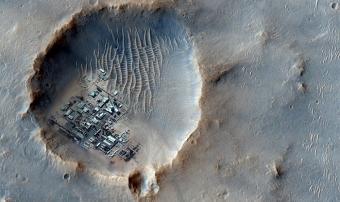 הדמיה של מושבה על צילום אמיתי של פני השטח במאדים   עיבוד: Dmytr0