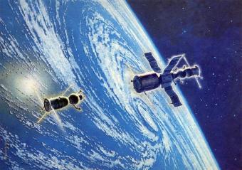 לוויין מחקר מעל סופת ציקלון בכדור הארץ| צייר: אנדריי סוקולוב, Fine Art, Moscow, 1985