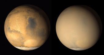 """מאדים ביוני 2001 (משמאל) וביולי 2001 (מימין), כשסופת חול כיסתה את כוכב הלכת. קרדיט: נאס""""א"""