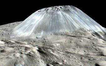 הר הגעש מנקודת מבט של פני השטח של קרס | הדמיה: NASA/JPL-Caltech/UCLA/MPS/DLR/IDA