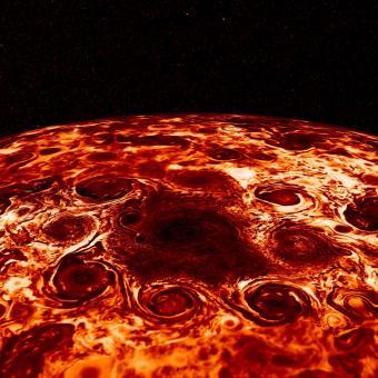 וככה נראות סופות הציקלון המקיפות את הקוטב הדרומי באינפרה אדום. קרדיט: NASA/JPL-Caltech/SwRI/ASI/INAF/JIRAM