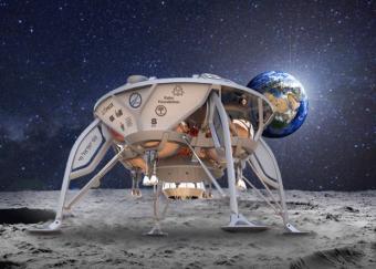 הדמיה של חללית SpaceIL על פני הירח