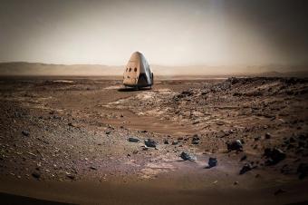 אילוסטרציה של החללית דרגון על מאדים | באדיבות SpaceX