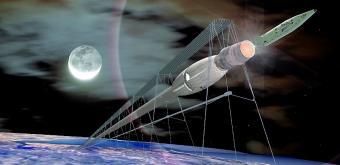 חללית מאוישת המשוגרת ממנהרה בה שורר ריק – ומואצת למהירות בריחה מכדור הארץ באמצעות ריחוף מגנטי | איור: NASA