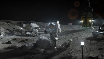הדמייה המציגה אסטרונאוטים עובדים על פני השטח של הירח במשימה עתידית במסגרת תכנית ארטמיס.
