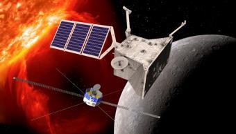 הלוויין היפני (למטה) יחקור את השדה המגנטי והלוויין האירופי יחקור את עוצמת הקרינה האולטרה-סגולה של כוכב חמה |איור: ESA